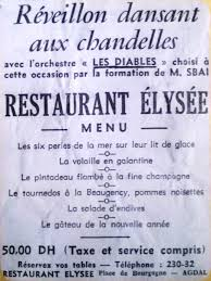 Menu de réveillon chez L'Elysée en décembre 1973