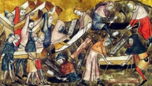 Funérailles des victimes de la peste à Tournai, illustration de Pierart Dou Tielt, 14ème siècle