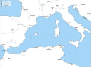 Carte de la Méditerranée occidentale