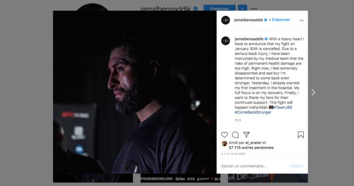 Le combat de Jamal Ben Saddik contre Rico Verhoeven annulé