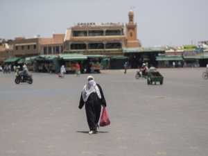 Jamaa Lefna, à Marrakech, vide de touristes