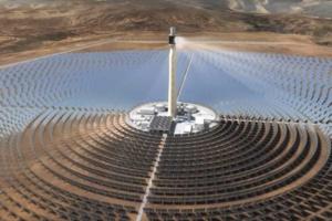 Vue aérienne de la Centrale Solaire Noor Ouarzazate