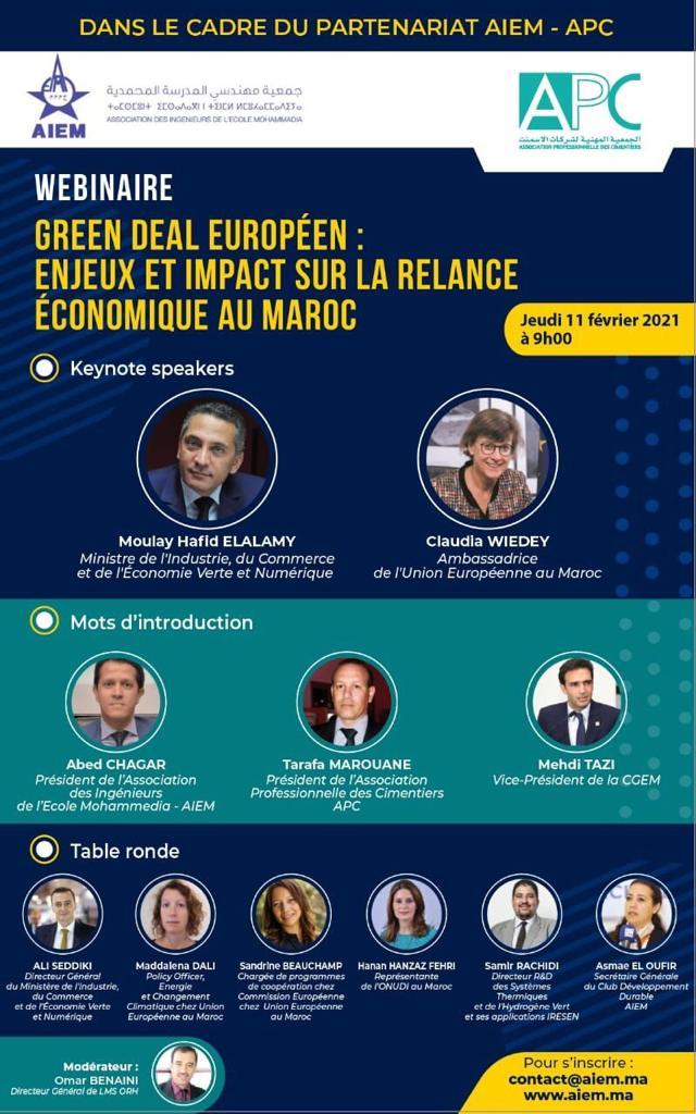 « GREEN DEAL Européen : Enjeux et impact sur la relance économique au Maroc »