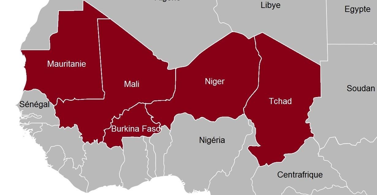 Carte de la sous-région du G5 Sahel