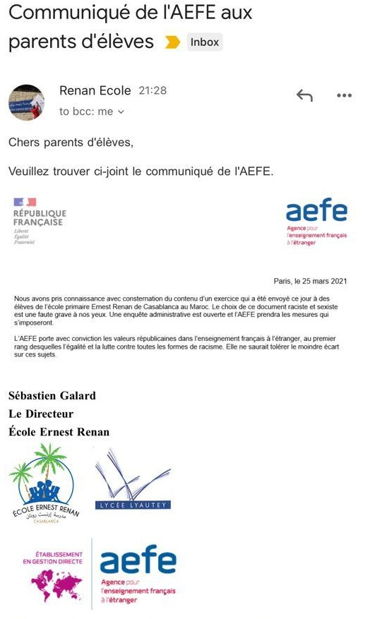 Un exercice raciste d'une école française au Maroc suscite l'indignation