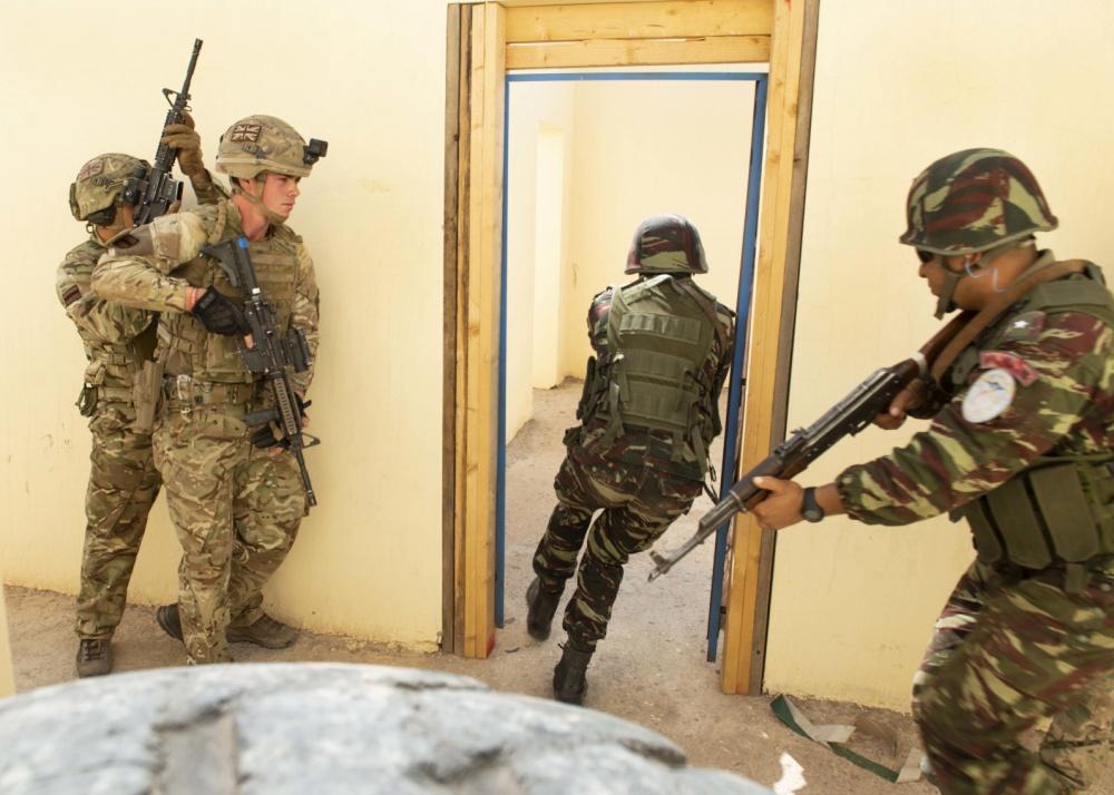 """Soldats marocains et américains s'entraînant ensemble lors de l'exercice """"African Lion 2019"""""""