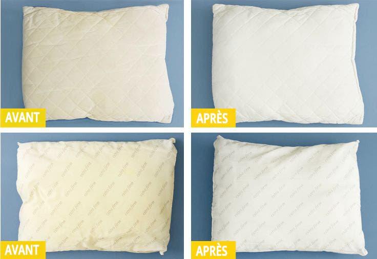 Découvrez comment nettoyer un oreiller qui a jauni !